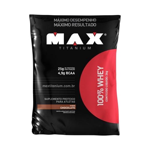 100% Whey Sabor Morango (2Kg) - Max Titanium
