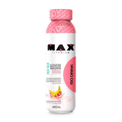 Whey Drink  - Max Titanium - 480ml - Morango e Banana