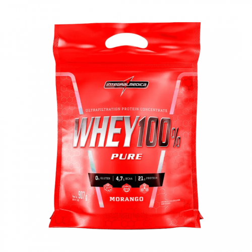 Whey 100% Pure Sabor Morango (907g) Refil - Integralmédica
