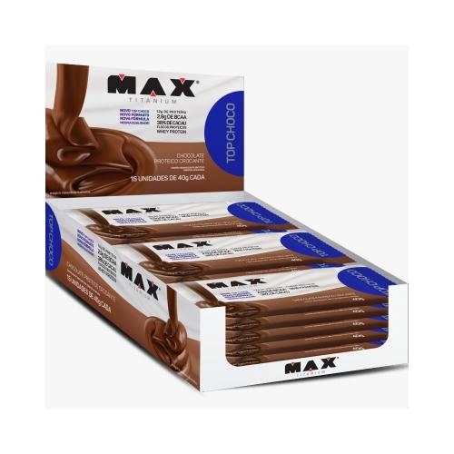 Top Choco (Chocolate Proteico) - Max Titanium - 1 Caixa 15 Unidades - 40G cada