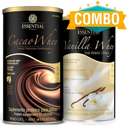 1 Unidade Cacao Whey + 1 Unidade Vanilla Whey - Essential  - 450g (cada)