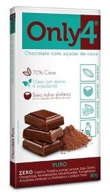 Chocolate com Açúcar de Coco - Puro - Only 4  - 80g