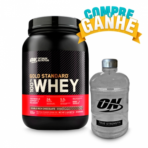 Compre 100% Whey Protein Gold Standard Sabor Chocolate (909g) - Optimum Nutrition e Ganhe Galão (1,1 Litros) - Optimum