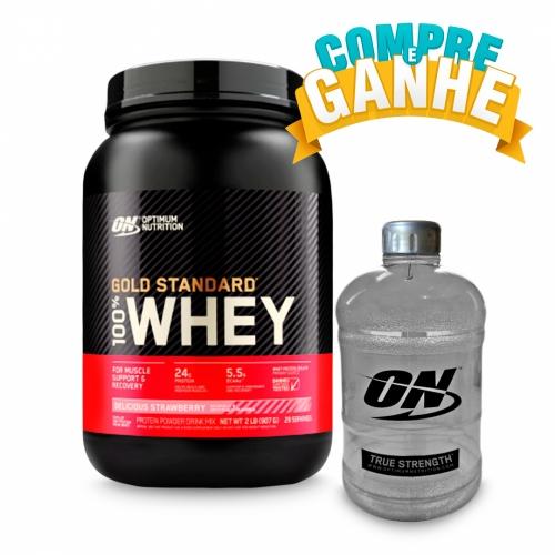 Compre 100% Whey Protein Gold Standard Sabor Morango (909g) - Optimum Nutrition e Ganhe Galão (1,1 Litros) - Optimum