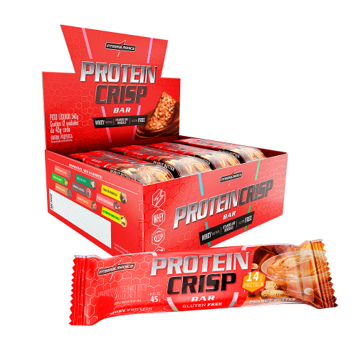 Protein Crisp Bar Sabor Amendoim (Cx c/ 12 Unidades de 45g) - Integralmédica