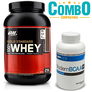 100% Whey Protein Gold Standard Optimum Nutrition + Modern BCAA - USP Labs - 200 Cápsulas (Val. 30/11/17)